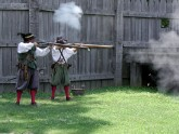 Historic Jamestowne Settlement is a short drive away. Here, muskets are fired in the recreated fort.