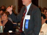 Mitchell Schubert, MD, FACG (VCU) directs a question to the expert panel